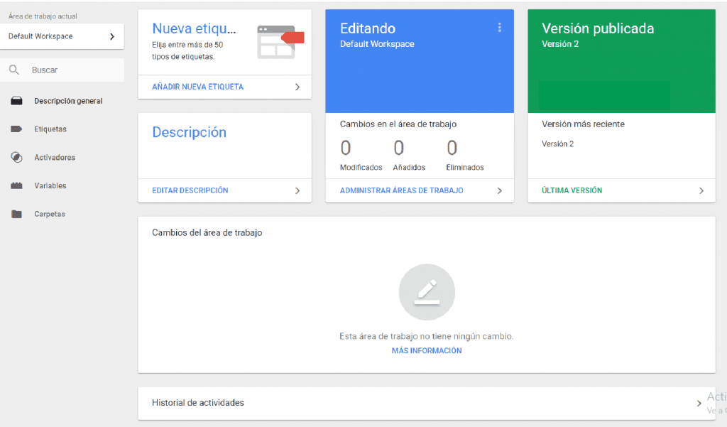 interfaz de google tag manager