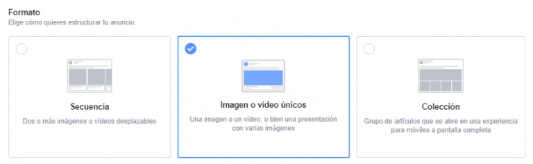 formatos de anuncio en facebook ads
